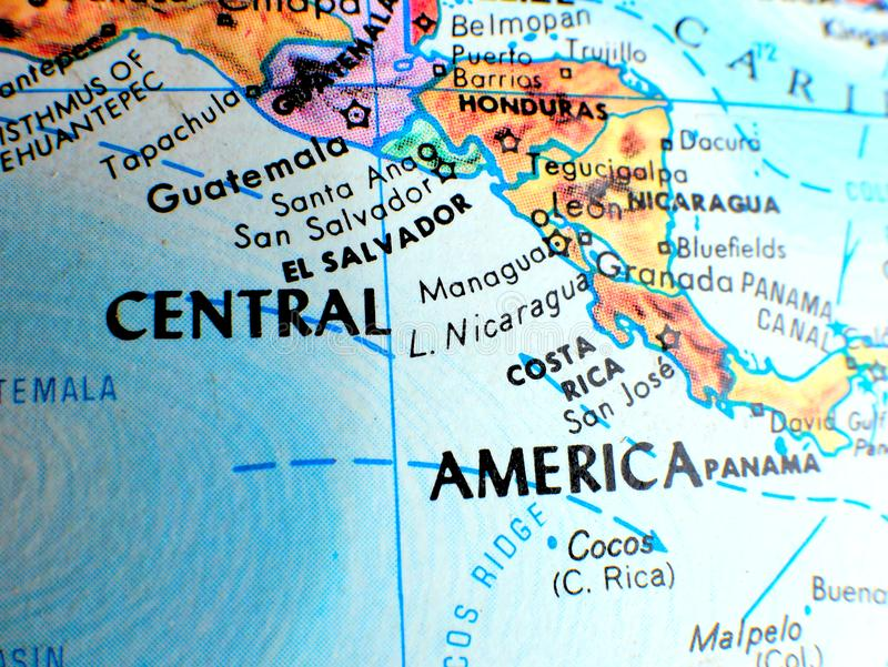 Central America focus macro shot on globe map for travel blogs, social media, website banners and backgrounds. Central America focus macro shot on globe map for stock photos