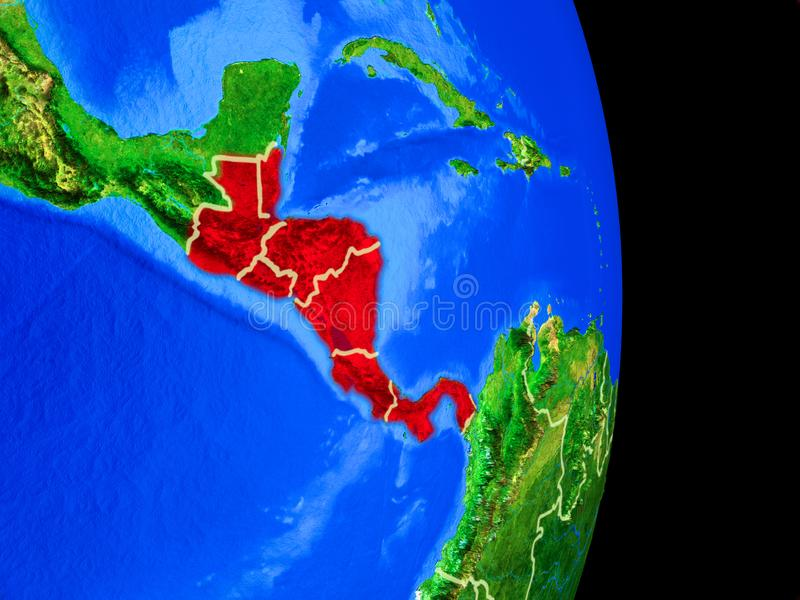Central America on globe from space. Central America on realistic model of planet Earth with country borders and very detailed planet surface. 3D illustration vector illustration