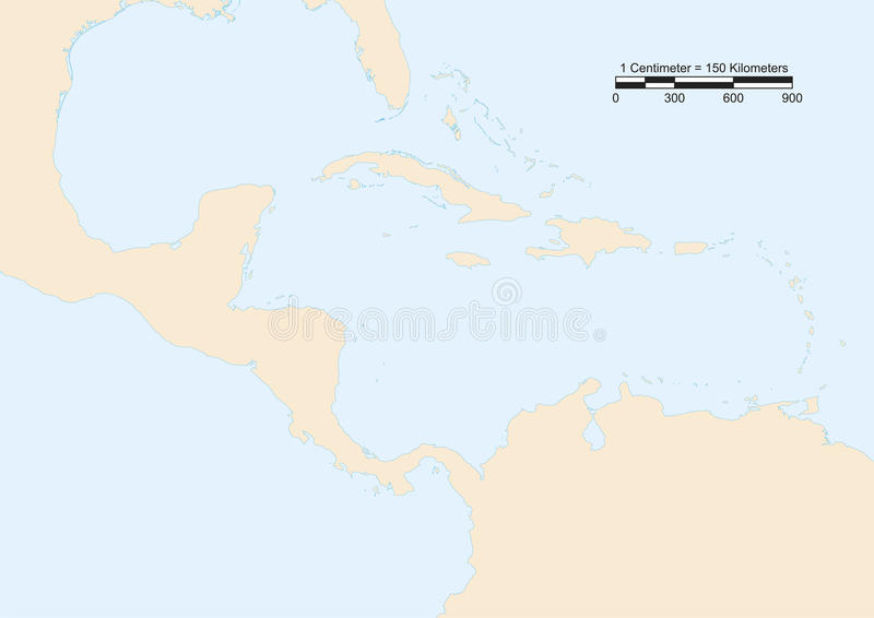Central America map. Map of Central America with scale. Elements of this image furnished by NASA royalty free illustration