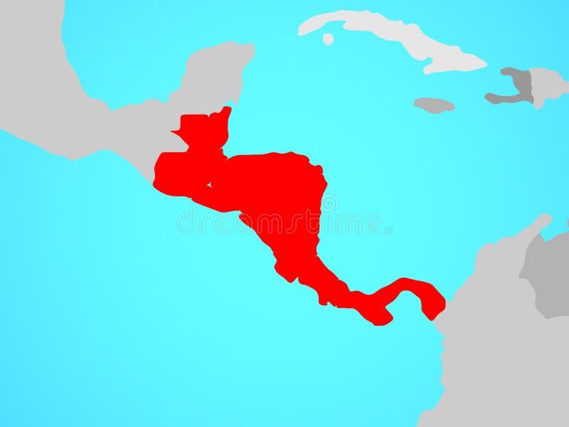 Central America on map. Central America on blue political globe. 3D illustration stock illustration