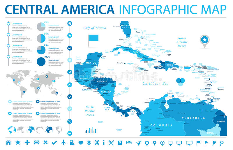 Central America Map - Info Graphic Vector Illustration. Central America Map - Detailed Info Graphic Vector Illustration vector illustration