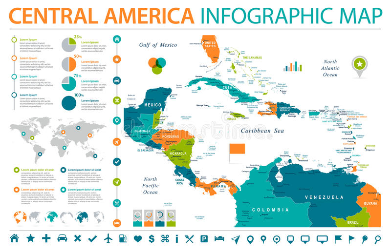 Central America Map - Info Graphic Vector Illustration. Central America Map - Detailed Info Graphic Vector Illustration stock illustration