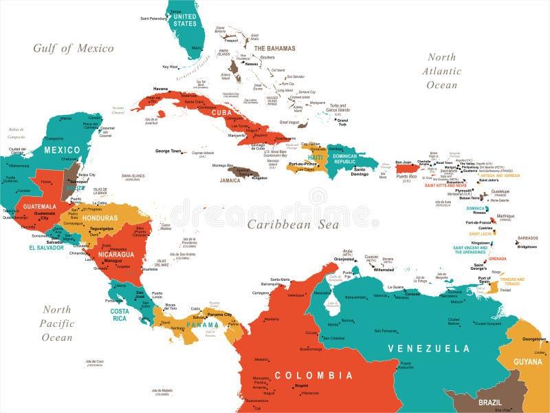 Central America Map - Vector Illustration. Central America Map - Detailed Vector Illustration stock illustration