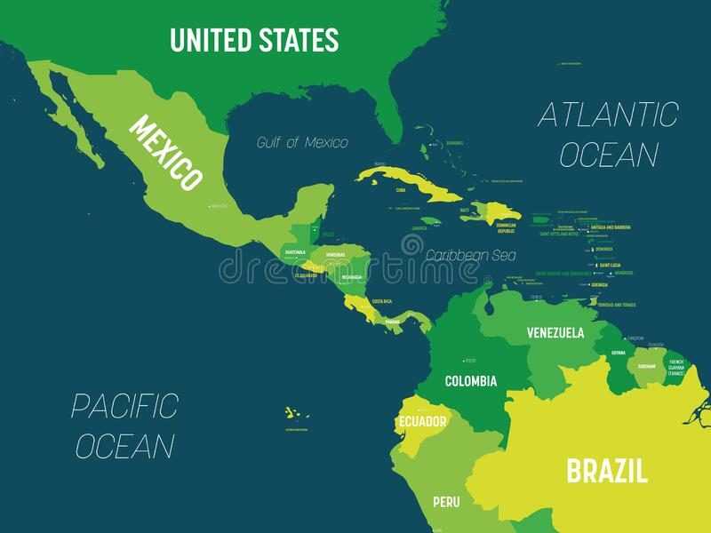 Map Of Central America Region With Blue Highlighted Central ...
