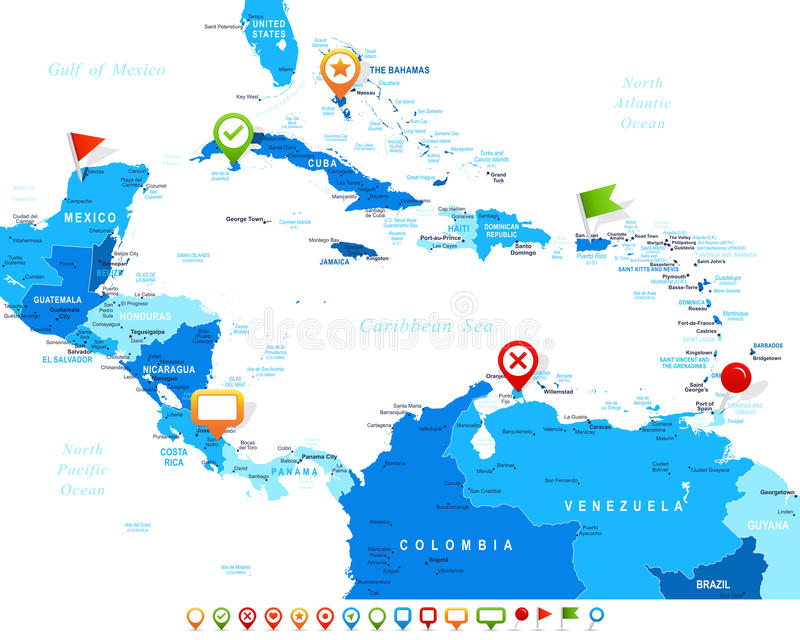 Central America - map and navigation icons - illustration. Central America map - highly detailed illustration. Image contains land contours, country and land stock illustration