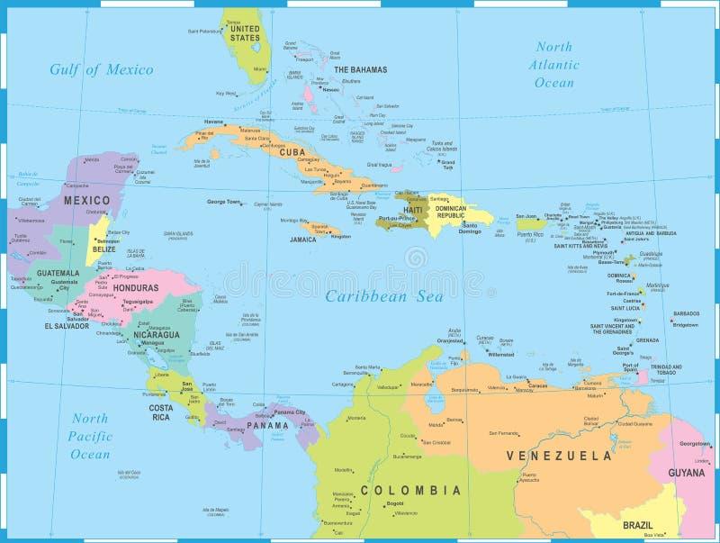 Central America Map - Vector Illustration. Central America Map - Detailed Vector Illustration vector illustration
