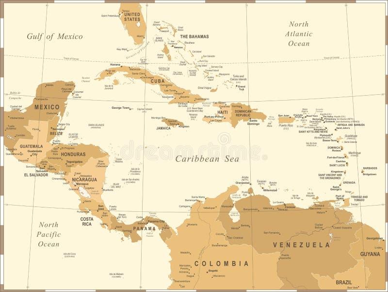 Central America Map - Vintage Vector Illustration. Central America Map - Vintage Detailed Vector Illustration royalty free illustration