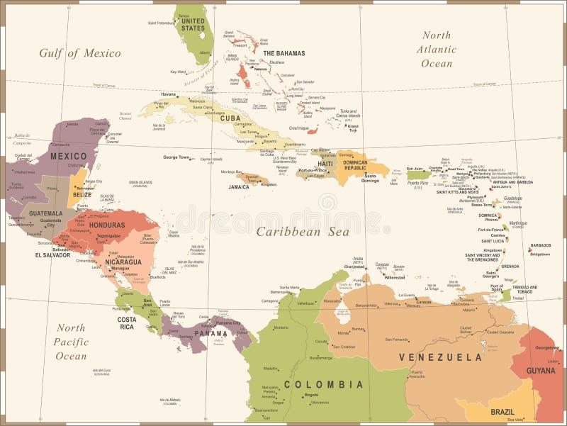 Central America Map - Vintage Vector Illustration. Central America Map - Vintage Detailed Vector Illustration stock illustration