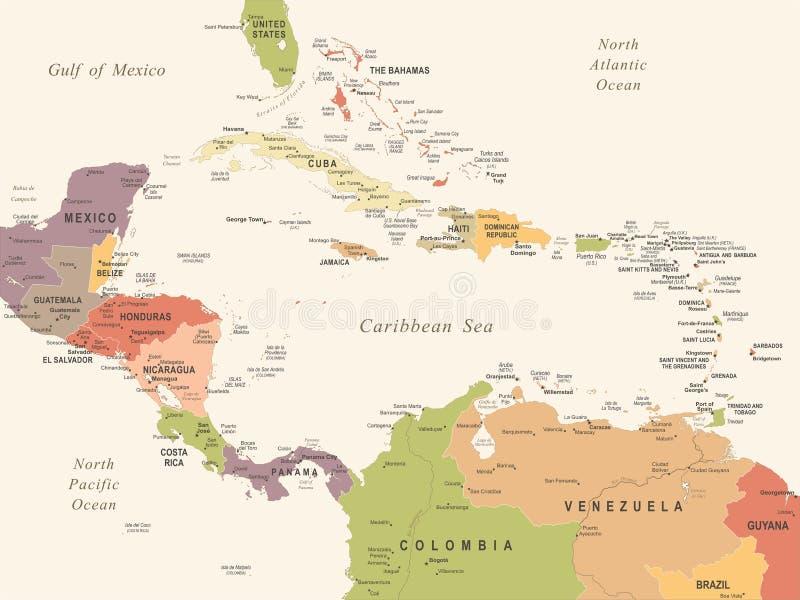 Central America Map - Vintage Vector Illustration. Central America Map - Vintage Detailed Vector Illustration vector illustration