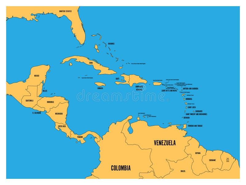 Central America och för karibiska tillstånd politisk översikt Gult land med svarta etiketter för landsnamn på blå havsbakgrund stock illustrationer