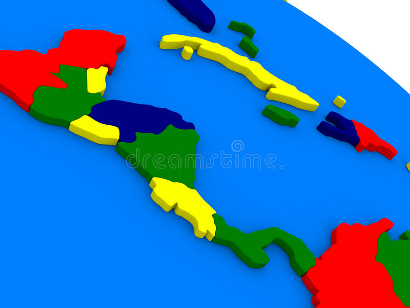 Central America på det färgrika jordklotet 3D royaltyfri illustrationer