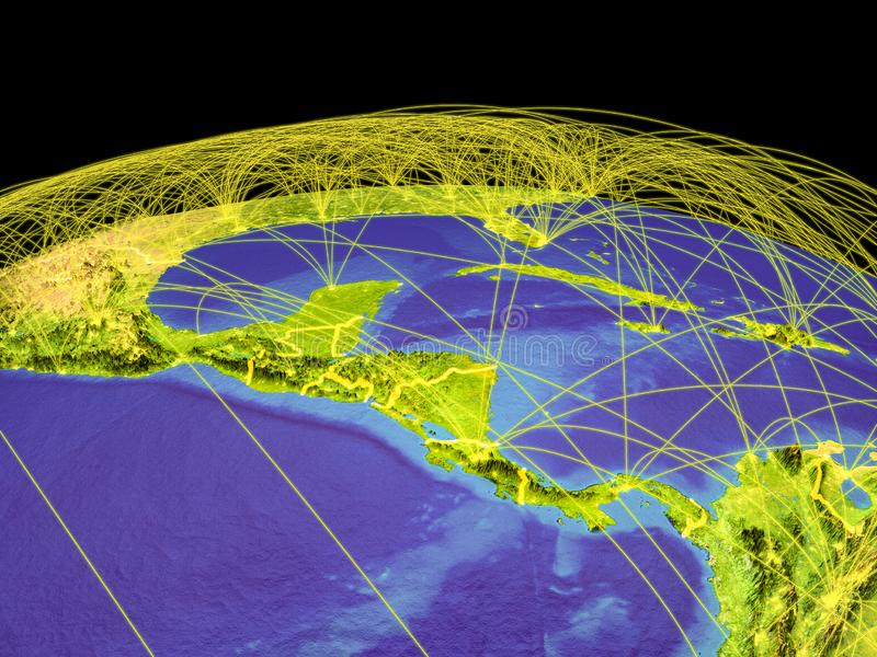 Central America on Earth from space. Central America on planet Earth with country borders and trajectories representing international communication, travel royalty free illustration