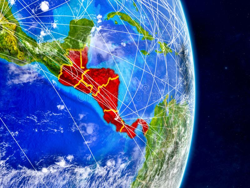 Central America on planet Earth with networks. Extremely detailed planet surface and clouds. 3D illustration. Elements of this. Image furnished by NASA stock illustration