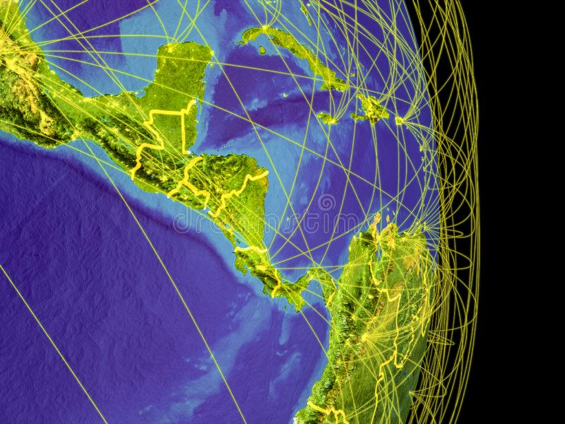 Central America on planet Earth. Central America on Earth with trajectories representing international communication, travel, connections. 3D illustration stock illustration