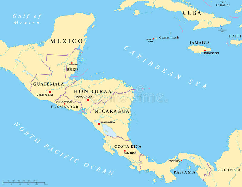 Central America politisk översikt vektor illustrationer