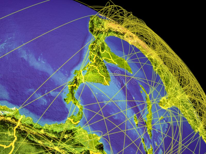 Central America from space. With country borders and trajectories representing global communication, travel, connections. 3D illustration. Elements of this stock illustration