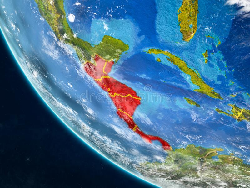 Central America from space on Earth. Central America on planet Earth from space with country borders. Very fine detail of planet surface and clouds. 3D vector illustration