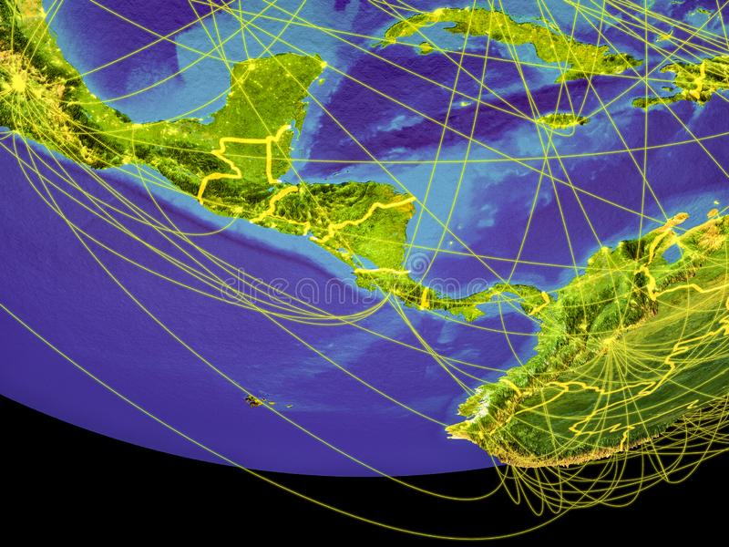 Central America from space on Earth. With country borders and lines, concept of communication, travel, connections. 3D illustration. Elements of this image vector illustration
