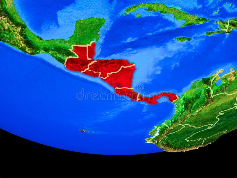 Central America from space on Earth. Central America from space on model of planet Earth with country borders. 3D illustration. Elements of this image furnished royalty free illustration