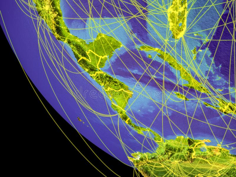 Central America from space on Earth. Central America from space with visible country borders and global connections representing communication or air travel. 3D stock illustration