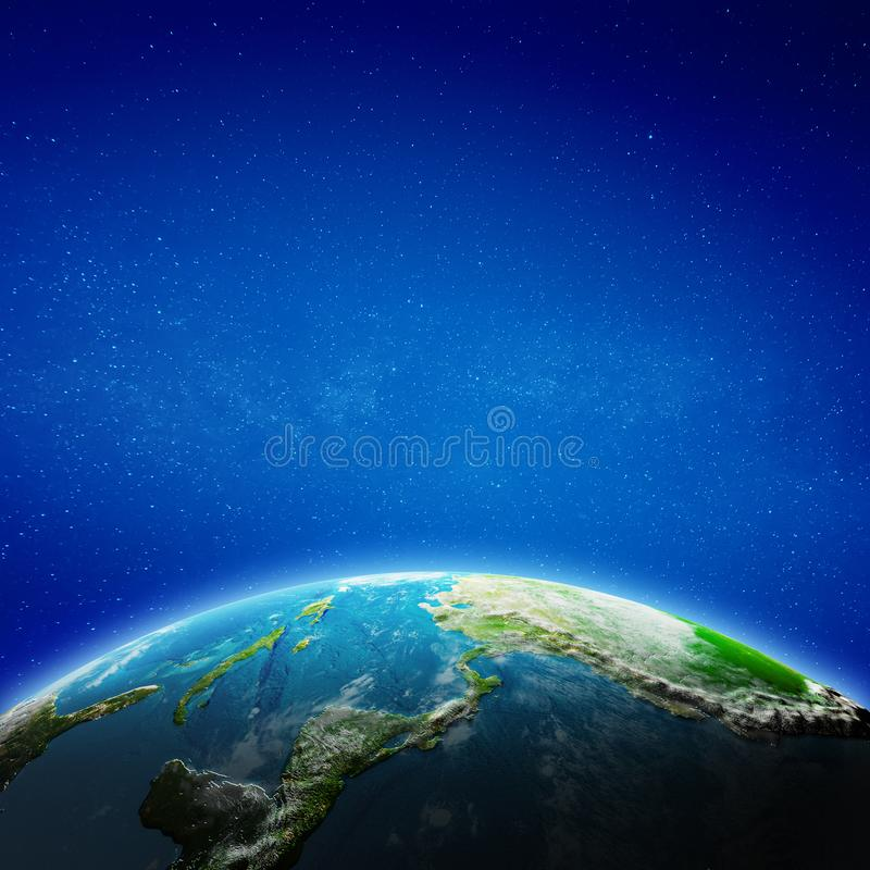 Central America from space vector illustration