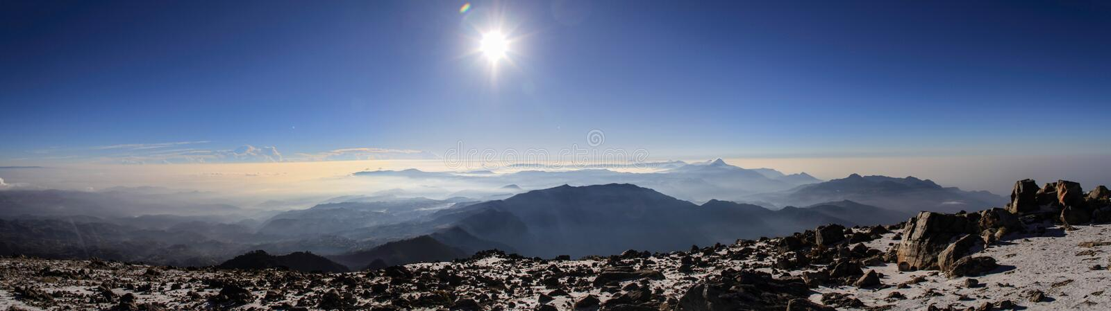 Panoramic view on the Volcano chain of Guatemala, from the summit of the Tajumulco Volcano, San Marcos, Guatemala. The Central American Volcanic Arc often stock images