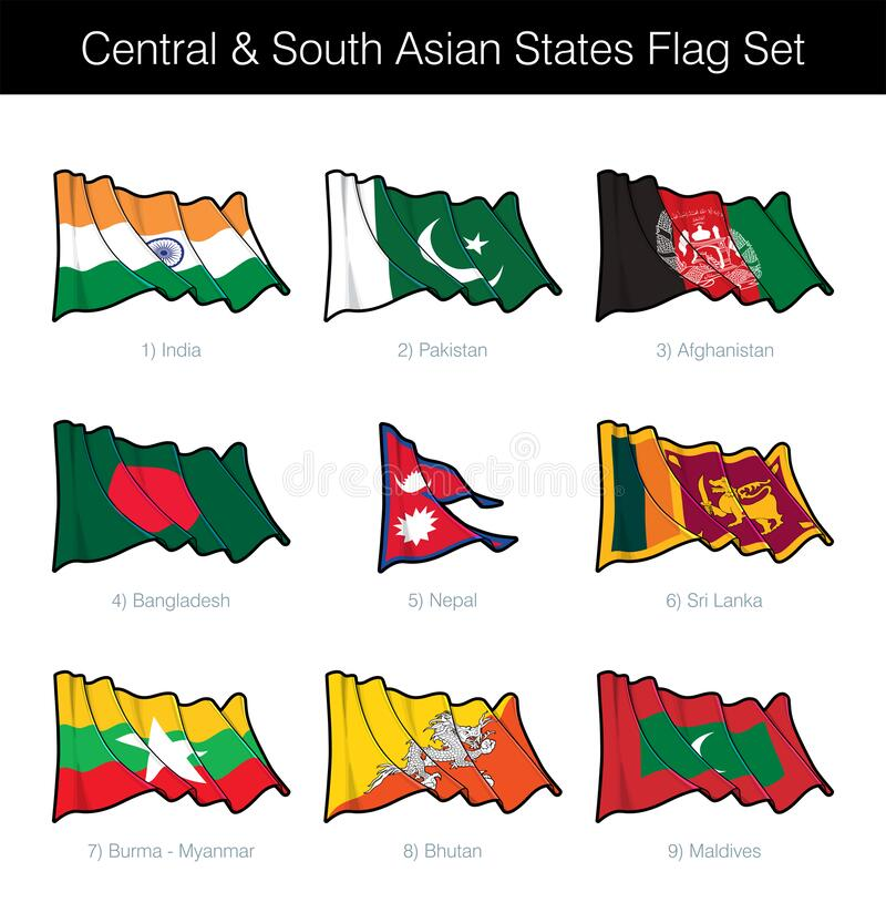 Free Central And South Asian States Waving Flag Set Stock Image - 174154581