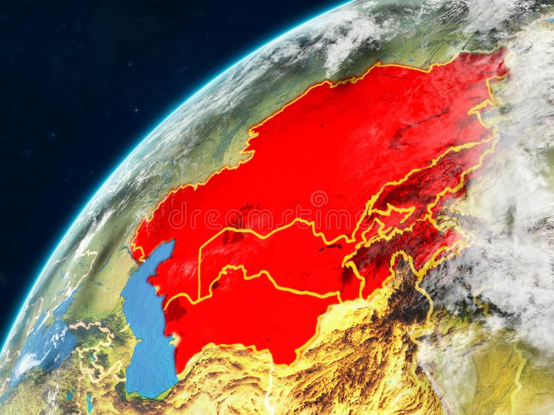 Central Asia on Earth with borders. Central Asia on realistic model of planet Earth with country borders and very detailed planet surface and clouds. 3D stock images
