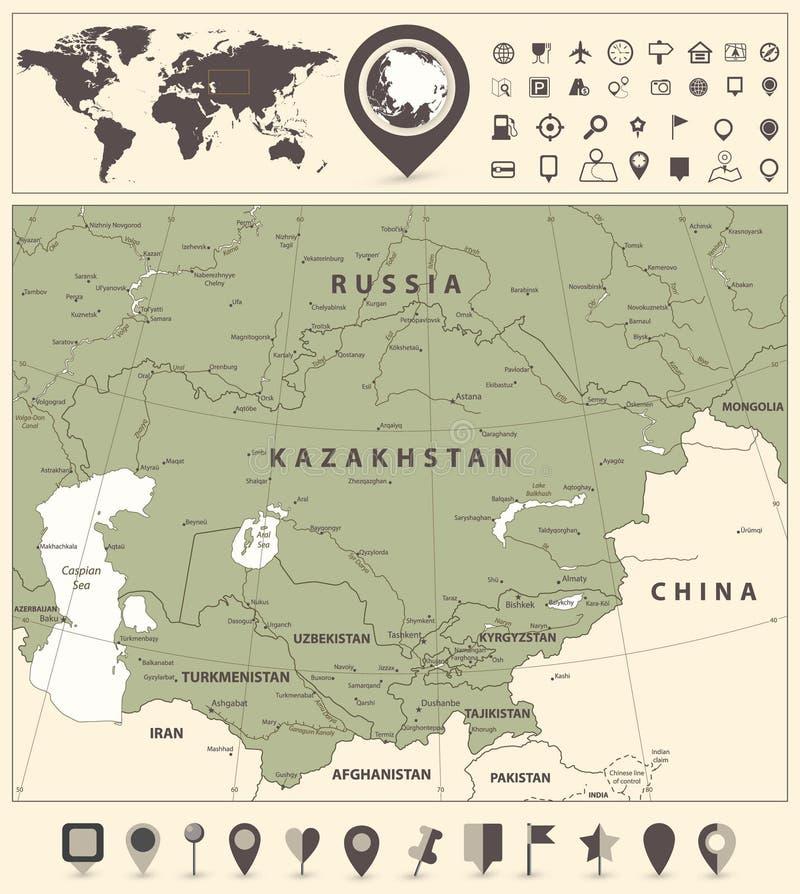 Central Asien politisk översikt och världskarta med navigeringsymboler stock illustrationer