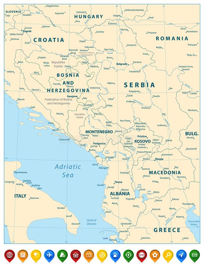 Central Balkan Region Map And Colorful Map Pointers Stock