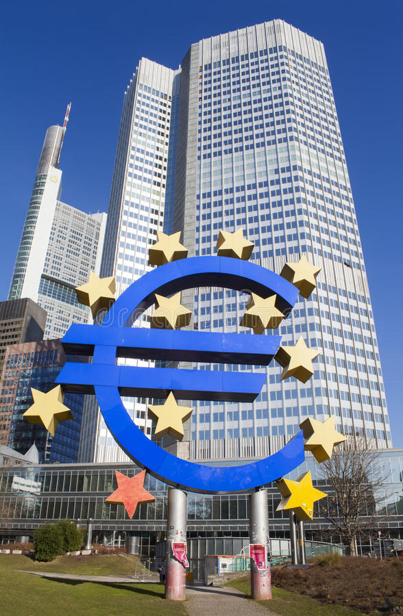 Central Bank of Europe in Frankfurt am Main city, Germany. FRANKFURT AM MAIN, GERMANY - FEBRUARY 7, 2015: Central Bank of Europe in Frankfurt am Main city stock photography