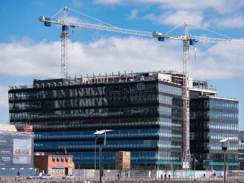 Central Bank of Ireland building under construction, North Wall Quay, Dublin city. royalty free stock photo
