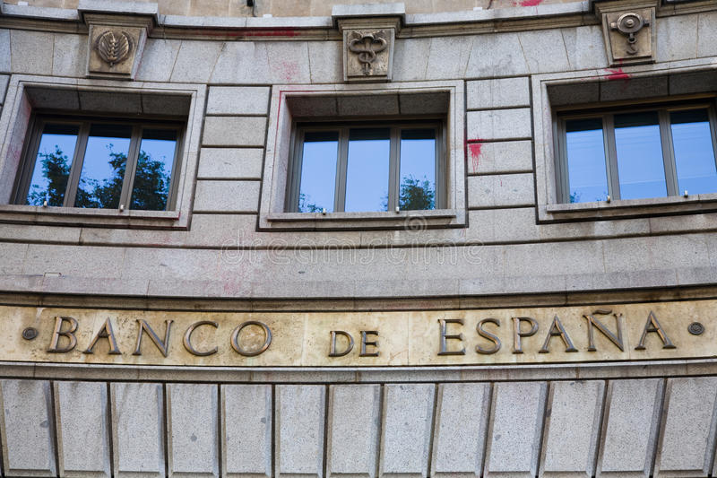Central bank, Spain royalty free stock photos