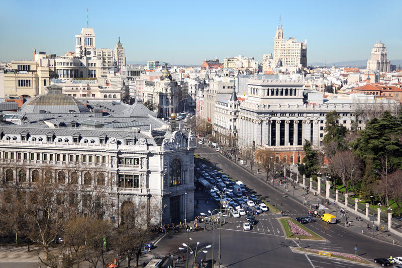 Central Bank of Spain at Gran Via street. On sunny day in Madrid, Spain royalty free stock image