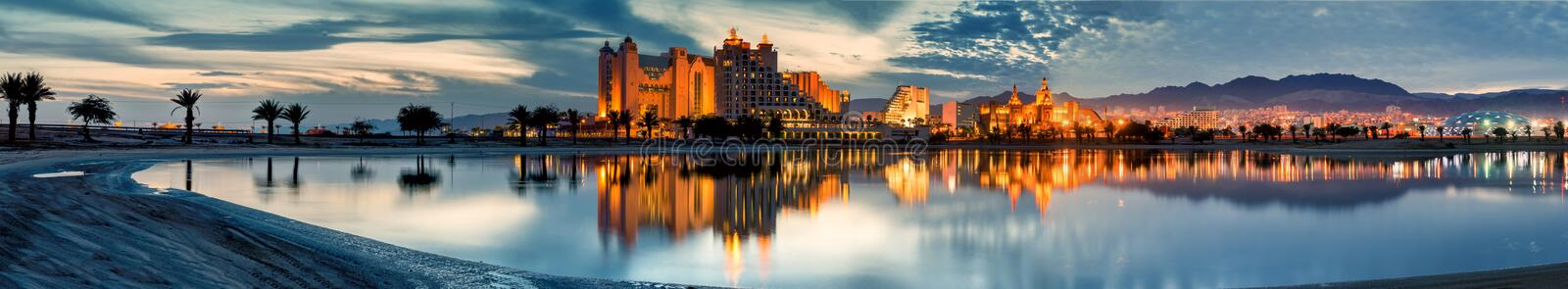 Central beach of Eilat at dawn, Israel royalty free stock photography