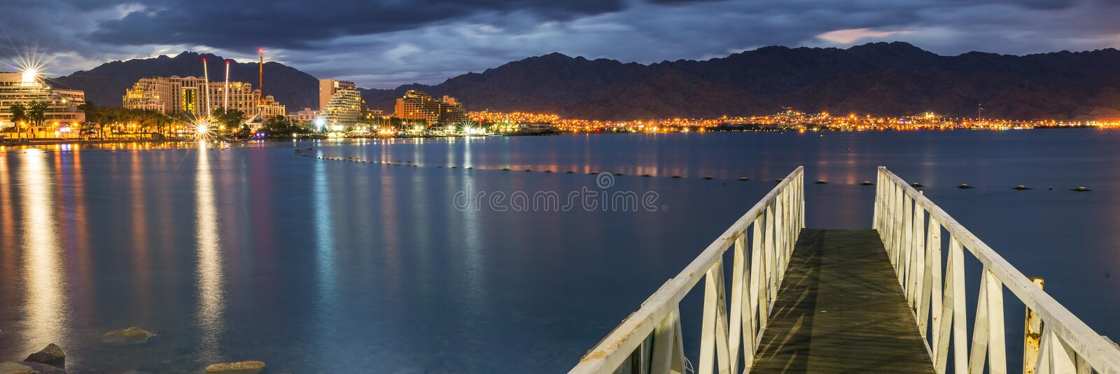 Central beach of Eilat - famous resort city in Israel stock photography