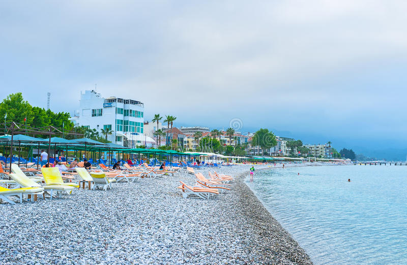 The central beach of Kemer royalty free stock photo