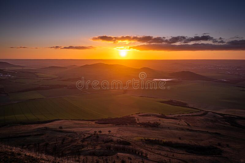 Central Bohemian Highlands in Czech Republic. Central Bohemian Highlands is a mountain range located in northern Bohemia in the Czech Republic. The range is royalty free stock photography