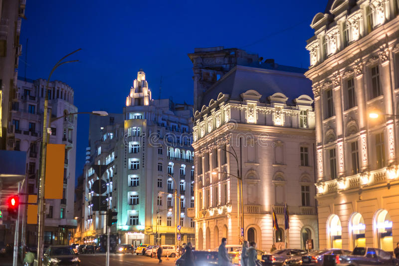 Central Bucharest night scene stock images