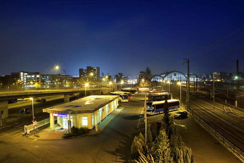 Download Central Bus Station At Night In Dresden Stock Image - Image: 30320943