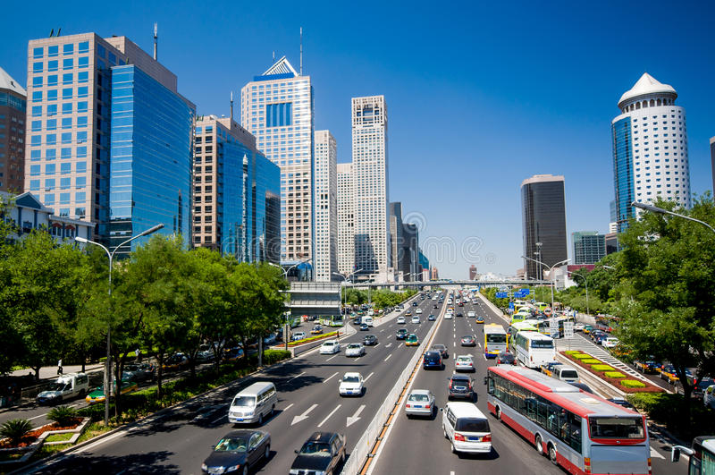 The central business district in beijing stock image