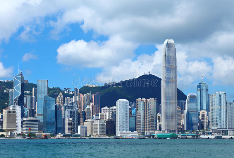 Central business district in Hong Kong. With blue sky stock images