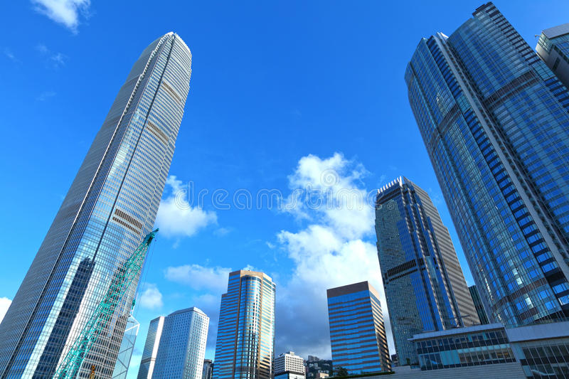Central business district in Hong Kong. With clear blue sky stock photos