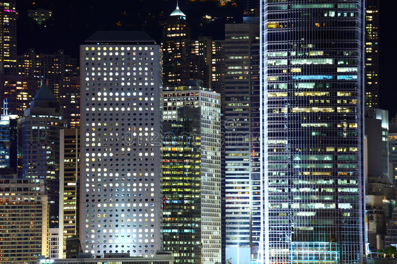 Central business district in Hong Kong. At night stock photos
