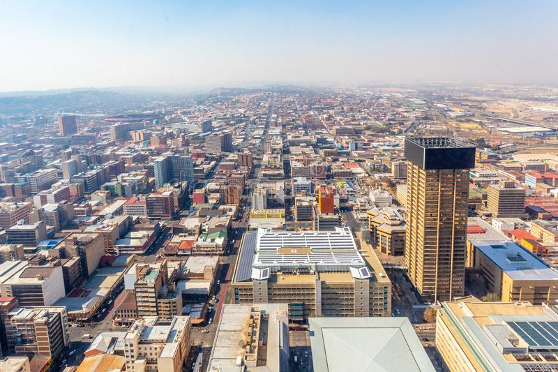 Central business district of Johannesburg city panorama, South Africa. Aerial, african, architecture, block, building, buildings, cbd, center, cityscape, day stock photography