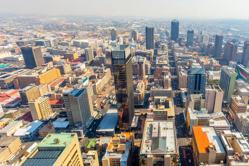 Central business district of Johannesburg city panorama, South Africa. Animals, nature, summer, wildlife, aerial, african, architecture, block, building stock photos