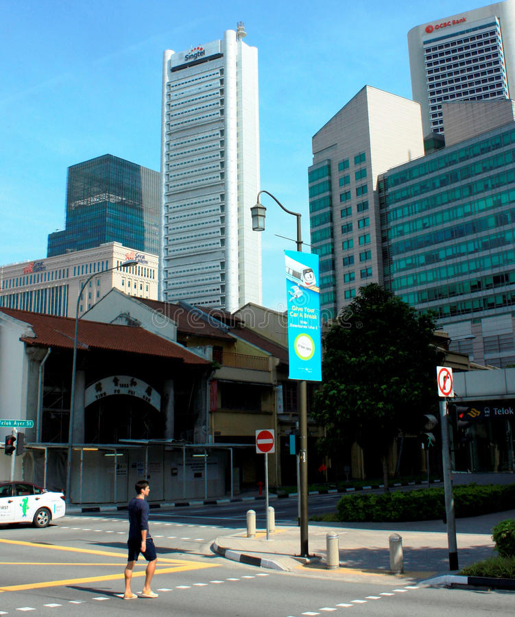 The Central Business District of Singapore royalty free stock photos