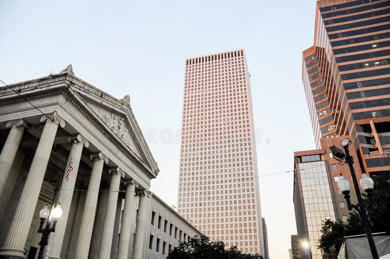 Central Business district, skyscrapers and Gallier Hall, New Orleans stock photos