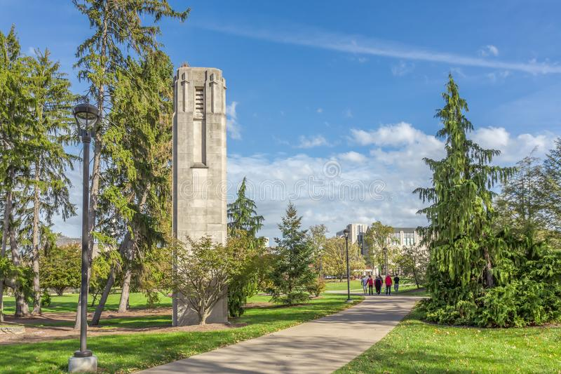 Central Campus Walkway at University of Indiana. BLOOMINGTON, IN/USA - OCTOBER 22, 2017: Unidentified people on the central campus walkway on the campus of the stock photo