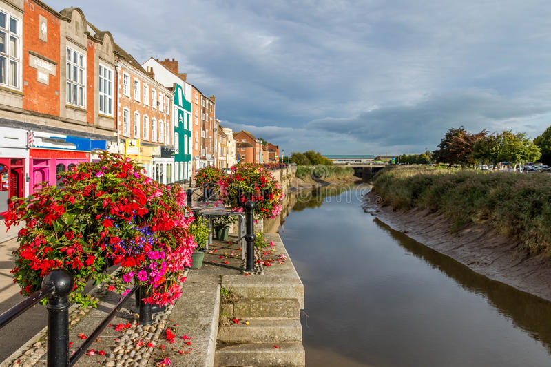Central canal in Bridgwater. In the center of Bridgwater is a pretty canal but full of mud stock image
